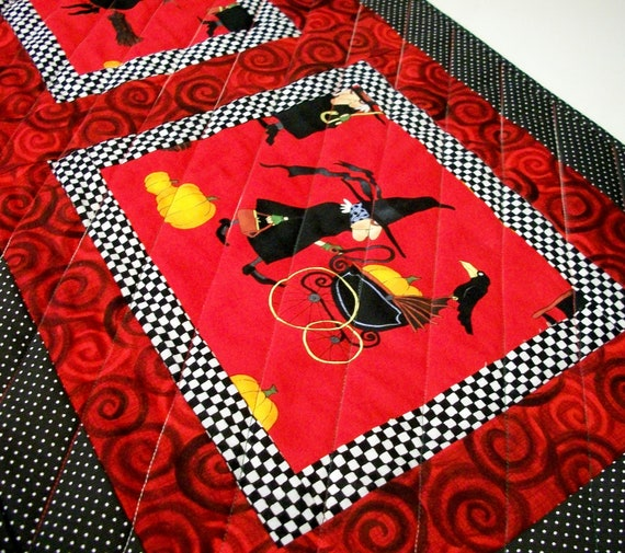 Halloween Table Runner Witchy Woman Handmade Reversible Quilted Ready to Ship One of a Kind
