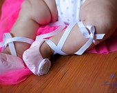 Baby Girl Shoes - Pink Ballet Slippers with matching flower headband