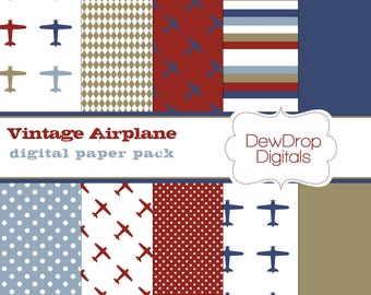 SALE Digital Paper Pack Scrapbooking Airplane Boys Blue INSTANT Download Khaki Red and White Scrapbook Papers Kit vintage baby plane
