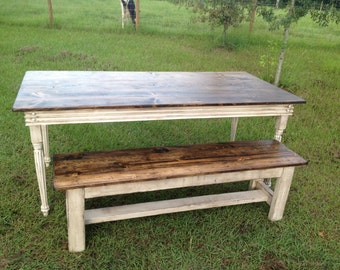 Farm Table with Turned Legs and One Bench