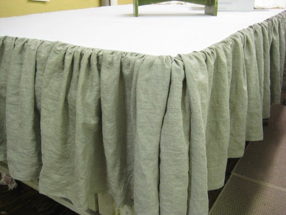 extra long washed linen gathered bedskirt or extra long gathered bedskirt panel separates