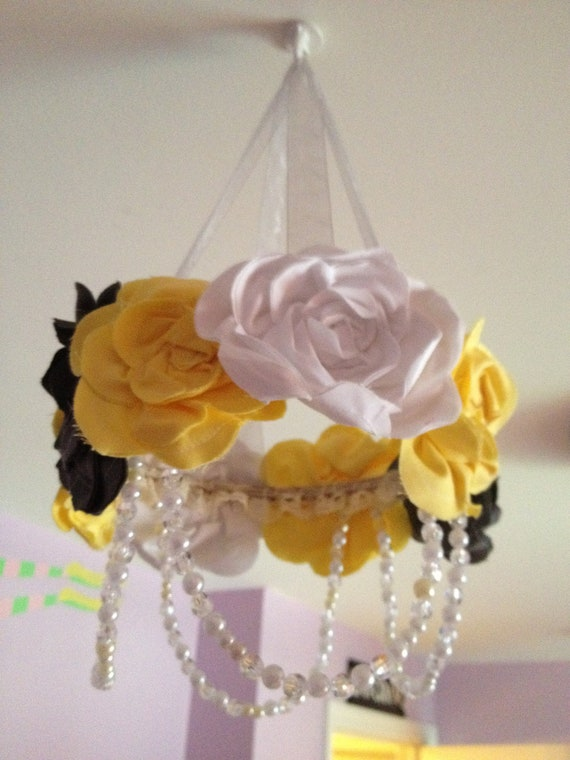 Yellow, Grey and White Ribbon, Pearl and Ruffle Handmade Fabric Flower Kids Chandelier - Mobile