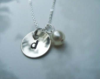 Initial Sterling Silver Stamped Necklace Domed with Pearl