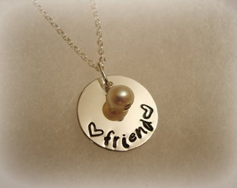 Sterling Silver Stamped Friend Necklace