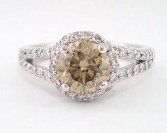 Fancy Champagne Brown Diamond Engagement Ring, Wedding Ring 1.84 Carat 14k White Gold Handmade Halo Pave Certified