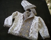 Custom order for Star Torkelson - Hand knit boys shawl collar sweater and hat