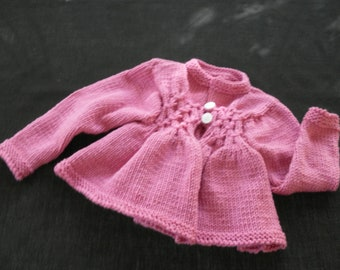 Hand knit girls rose pink sweater coat