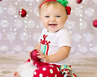 LONG SLEEVE Christmas white red and green striped and polka dot present bodysuit ruffle bloomers diaper cover w/matching shabby chiffon