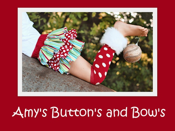 TODDLER BIG GIRL Christmas winter red and white polka dot leg warmers w/attached white faux fur for added cuteness