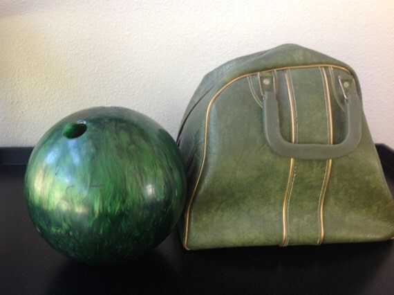 Vintage 1960s Green Bowling Bag Tote