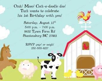 10 Farm Birthday Invitations with Envelopes.  Free Return Address Labels
