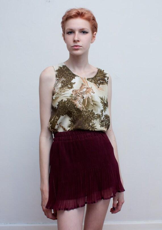 SALE - zebra safari tank / boxy African inspired sleeveless blouse / M