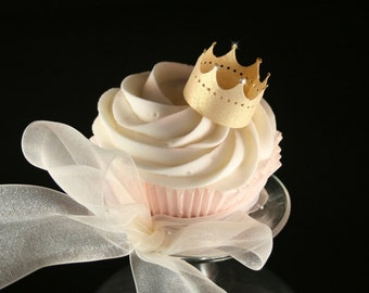 6 Edible Crowns wafer paper in GOLD, SILVER or PEARL, nontoxic glitter