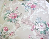 Vintage Wallpaper - Red Pink Blue White Floral Bouquets with Scrolls  - 1 Yard