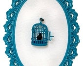 Birdcage with Black Bird in Victorian Frame - Wall Art Decor 5.5x8in