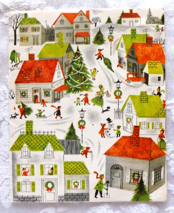 Vintage Wedding Card Unused Greeting Card 1960s 1950s: Vintage Bright And Cheery 1950's Christmas Card UNUSED