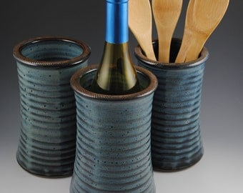 Wine Chiller, Wine Cooler- Stoneware with Textured Rim, in our Denim Blue Glaze