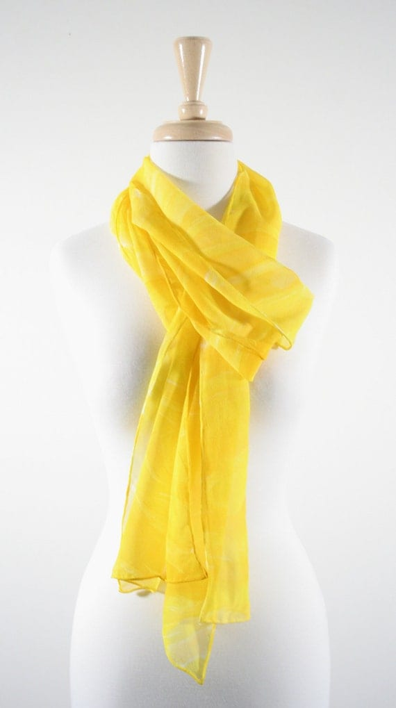 Because I'm Happy. Happy Yellow Scarf. Sunshine Yellow Silk Chiffon. 11x90. Hand Painted Silk. Yellow Scarf