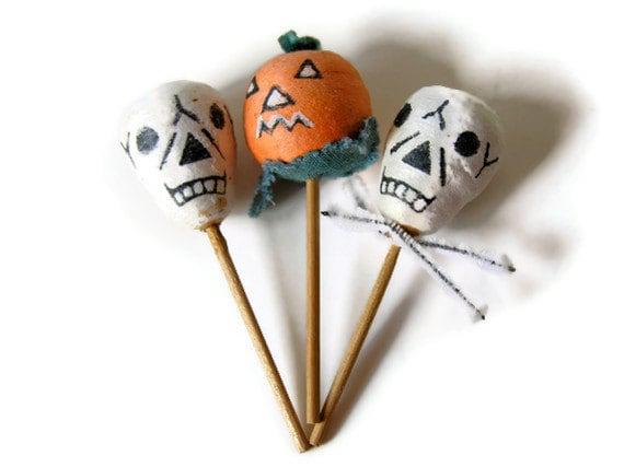 RESERVED: Spun Cotton Halloween Cupcake Toppers Skulls Jack O Lantern Vintage Cake Picks