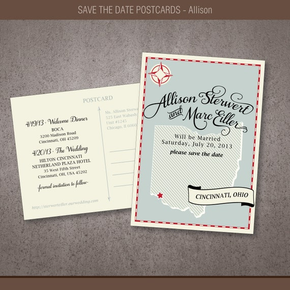 Save the Date Map Postcards - Allison