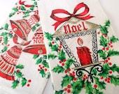Vintage Christmas Linen Tea Towels. Pair