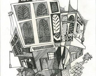 Baghdad shenasheel,  Modern Arab Art, Black and White, Iraqi Architect, 11x14 inch drawing