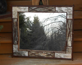 White Birch Bark and Twig Vanity Mirror Rustic Camp Lodge and Home Decor Mirror