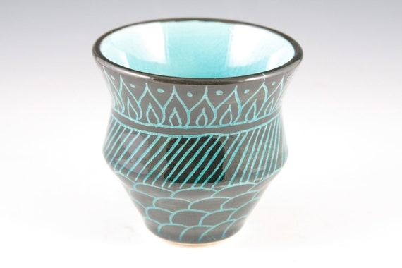 Stoneware Teacup, Black and Celadon, Bakuba Pattern