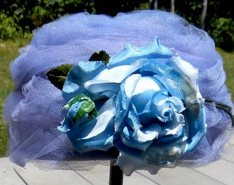 Vintage 1960s French Blue Millinery Rose and Tulle Pillbox Hat for Weddings