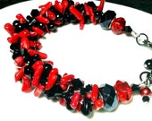 Red Coral, Black Rondelles and Drops Kumihimo Bracelet by 2CarasCreations