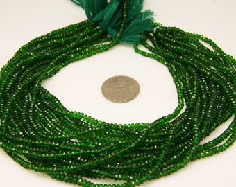 1/2strand - natural chrome dioptase faceted rondel sized 3.6mm