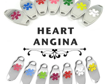 HEART ANGINA Alert Medical ID Plate Pre-Engraved, for Stylish Beaded Bracelets