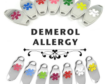 DEMEROL ALLERGY Medical ID plate Pre-Engraved, for Stylish Beaded Bracelets