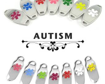 AUTISM Medical Alert ID plate Pre-Engraved, for Stylish Medical Alert Beaded Bracelets