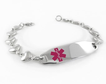 Ladies Medical ID Alert Bracelet, HEART CHAIN, Purple, Custom Engraved - i2C-BS6