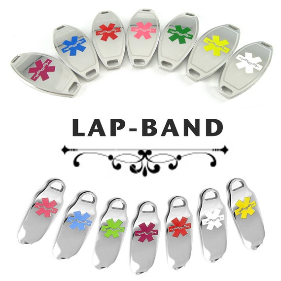 LAP BAND Medical ID plate Pre-Engraved, for Stylish Medical Alert Beaded Bracelets