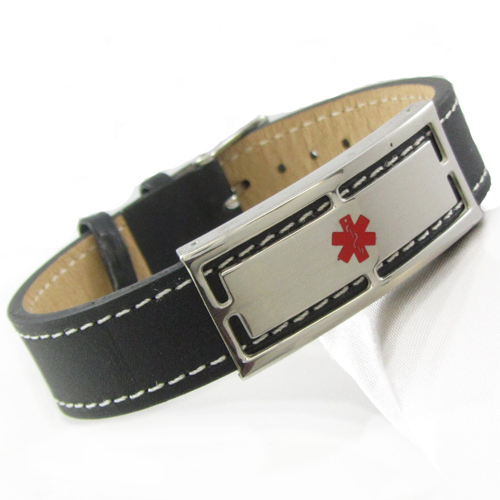 Custom Engraved Black Leather Medical Id Bracelet Mens