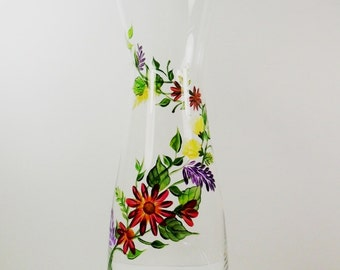 Wine Decanter Carafe Hand Painted Fall Flowers