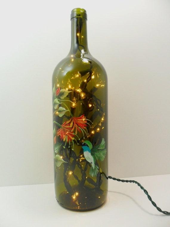 Hummingbird Lighted Wine Bottle Honeysuckle Flower Hand Painted Recycled 1 Liter