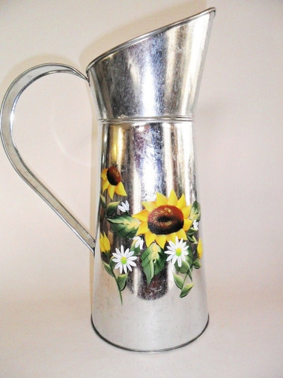 Sunflower Watering Can Pitcher Galvanized Metal