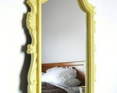 Vintage Mirror, Yellow Mirror, Upcycled, Eco Friendly, Ornate, Baroque Lemon grass