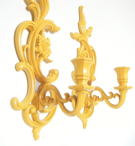 Candle Sconces Upcycled in Mustard Yellow Vintage Wall Sconces Decorative Wall Decor