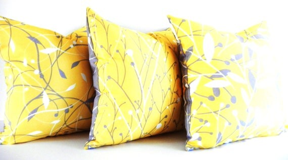 Yellow Pillows, Gray Pillows, Decorative Pillows - Set of 3 - Modern Two sided throw pillows for sofa