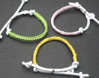 Womens Green, Yellow or  Pink Leather Macrame Bracelet. CHOOSE