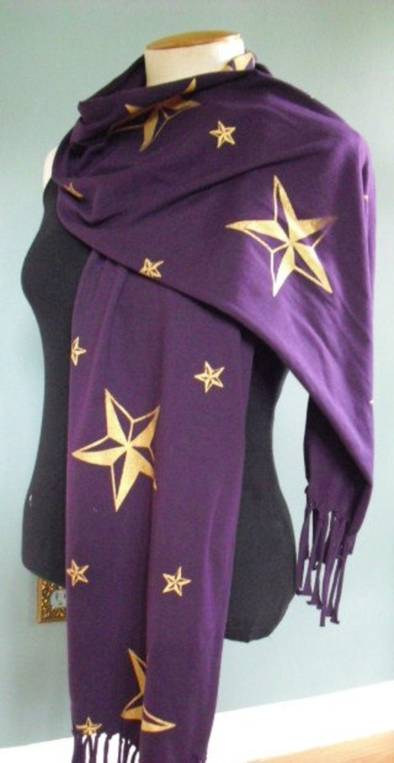 Royal Purple Jersey Knit Scarf With Screen Printed Metalic Gold Nautical Stars