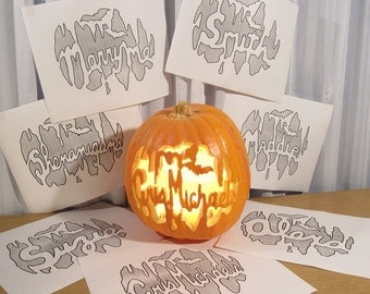 Custom 'Your Name In Lights'  Pumpkin Carving PATTERN ONLY PDF Made to Order