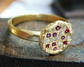 Engagement Ring - Gold Ring - Wrinkled Engagement Ring -18k Gold Diamonds and Ruby -  Alternative Engagement Ring
