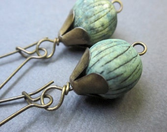 striped porcelain on bronze - the aliyah earrings