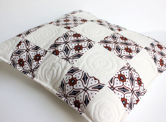 Checkers Black and White Java Batik Quilted Pillow Cover, Set of 2, 16 x 16 inches