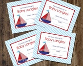 Little Sailboat bookplates / red white blue / pinstripe border / personalized with your wording / great baby shower idea
